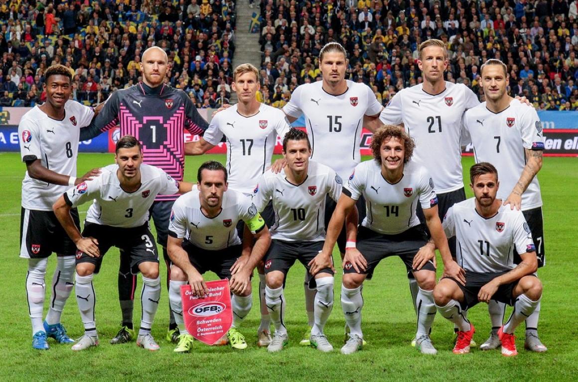 teamfoto voor Oostenrijk