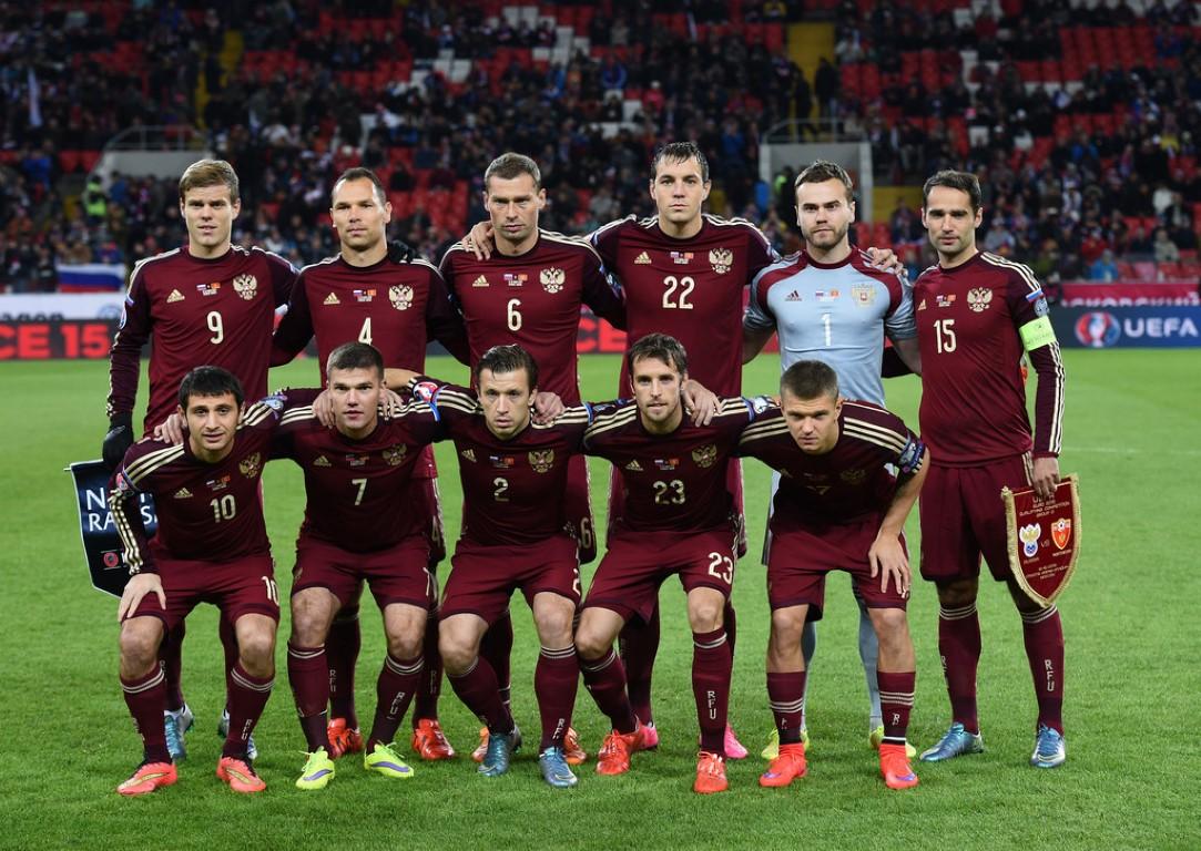 teamfoto voor Rusland