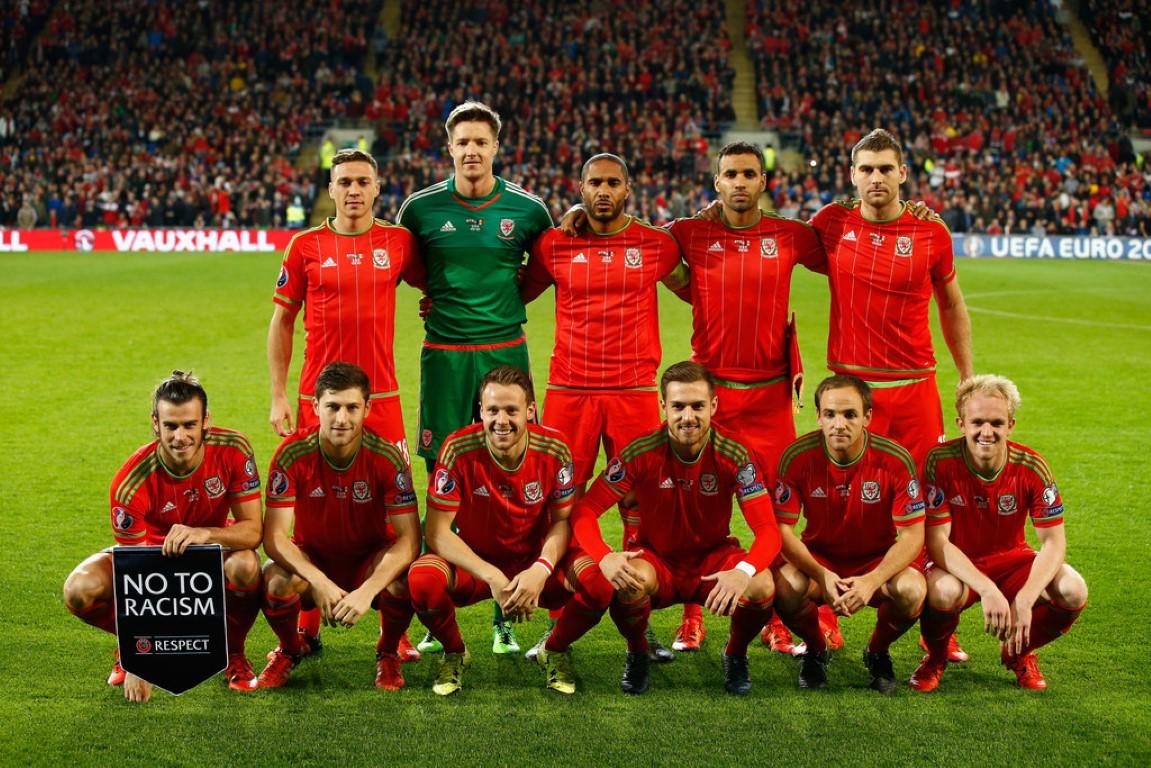 teamfoto voor Wales